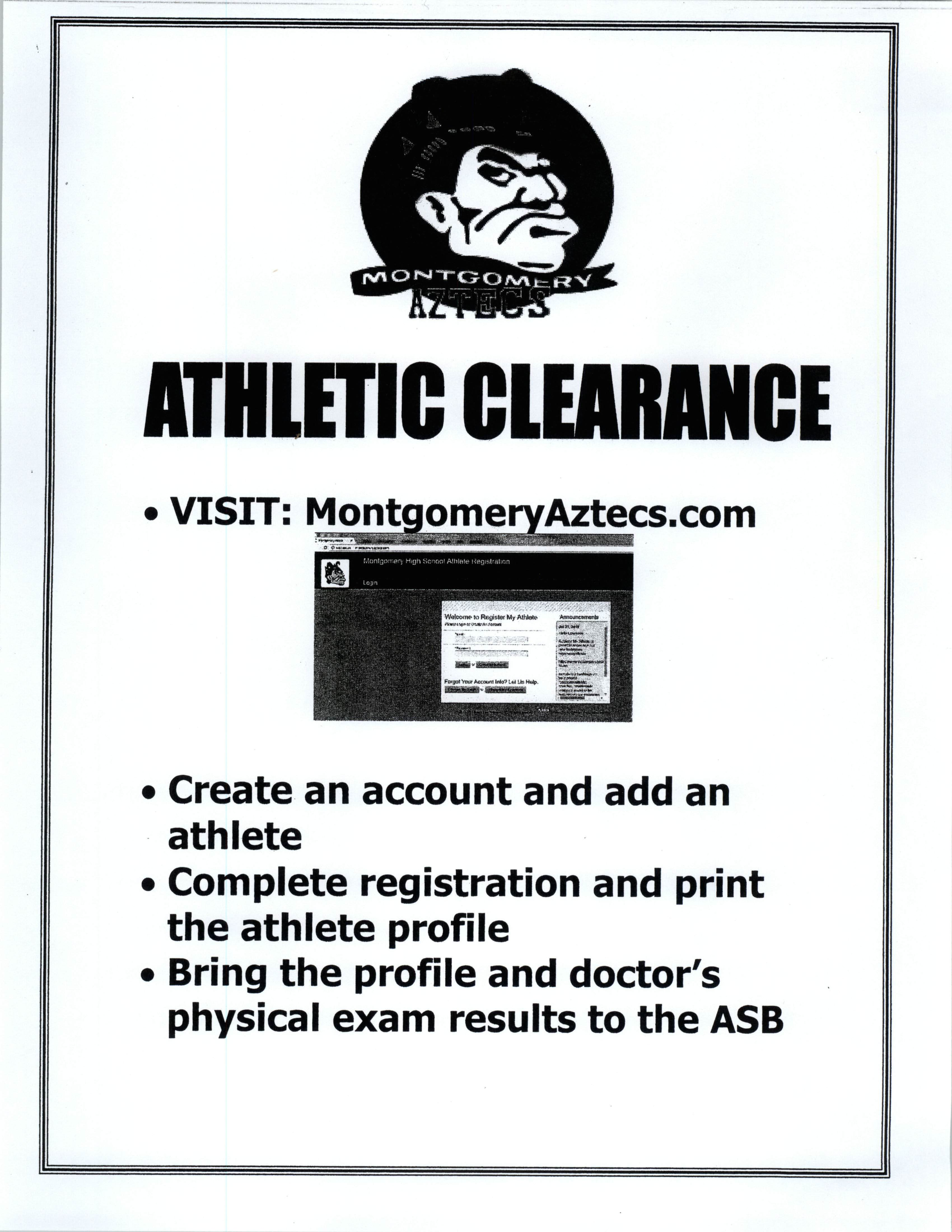 Athletic Clearance – Montgomery High School- Activities, ASB
