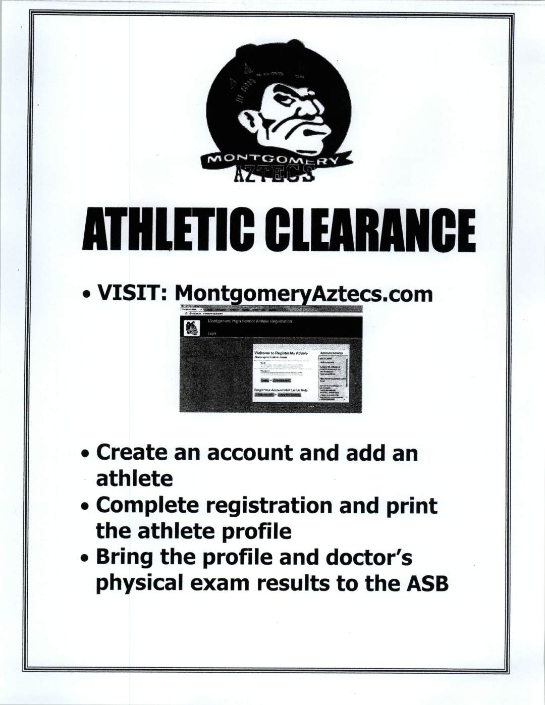 Athletic Clearance flyer