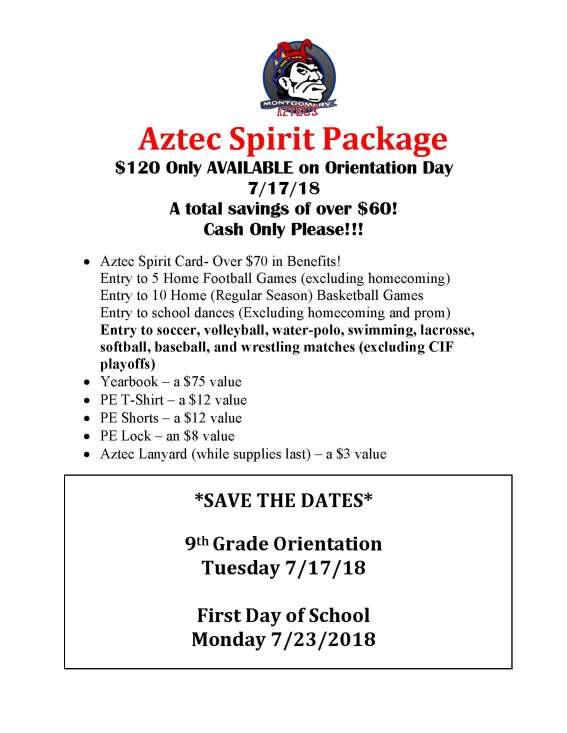Aztec Spirit Package flyer- 7-17-18